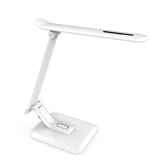 PLATINET Asztali lámpa 12W + asztali USB töltő - fehér
