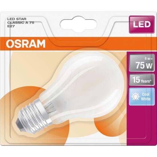 Osram Star 8 W/840 75 E27 1055 lumen matt LED körte izzó
