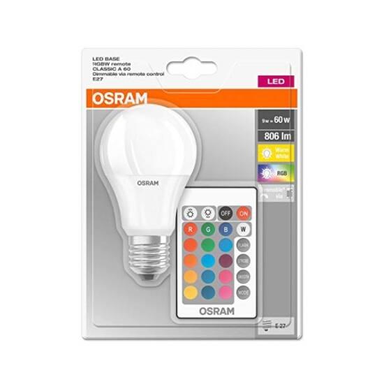 Osram Star+ RGBW E27 9 W 806 lumen szabályozható matt LED körte izzó