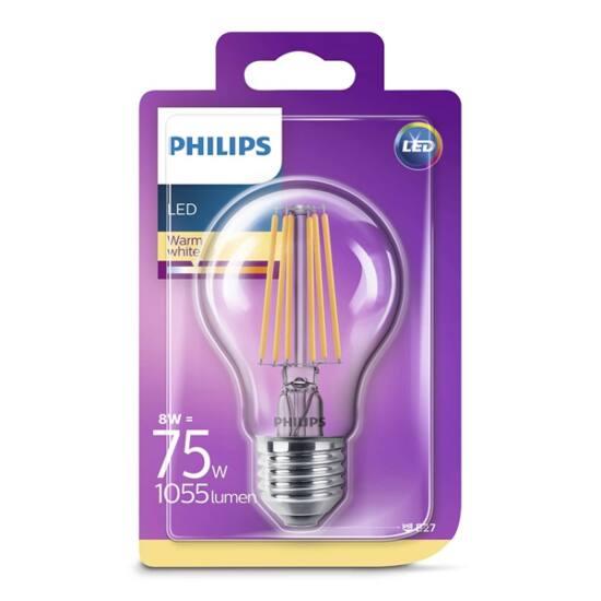 PHILIPS  LED Classic izzó 8-75W A60 E27 827 CL ND RF