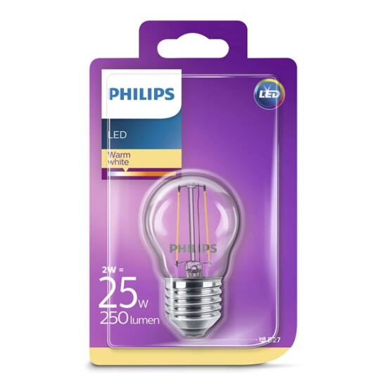 PHILIPS  LED Classic luster izzó 2-25W P45 E27 827 CL ND