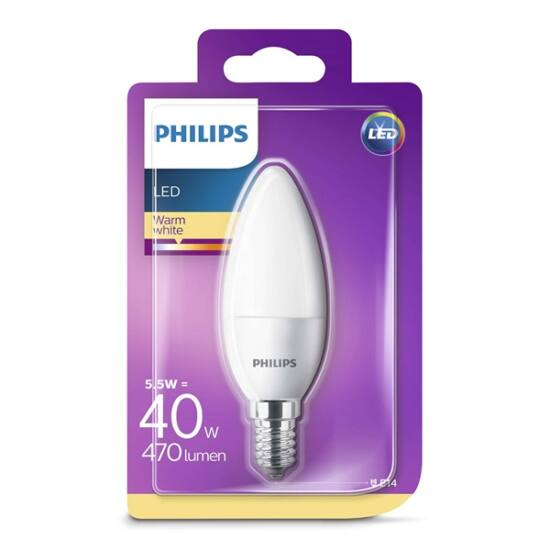PHILIPS  LED gyertya 5.5-40W B35 E14 827 FR ND