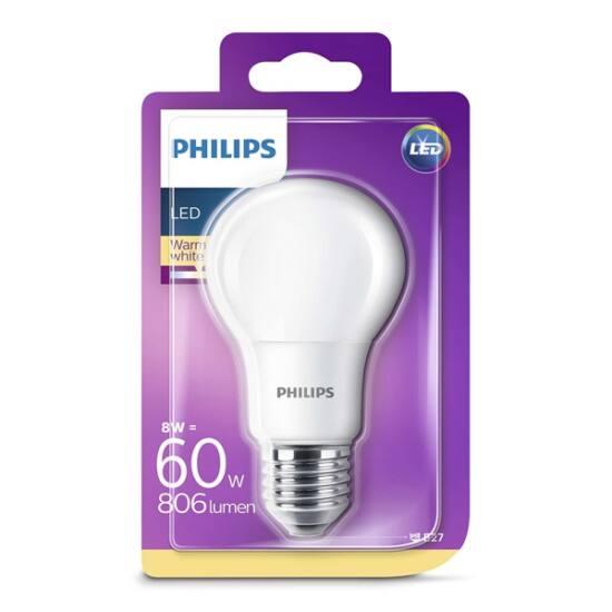 PHILIPS  LED izzó 8-60W A60 E27 827 FR ND