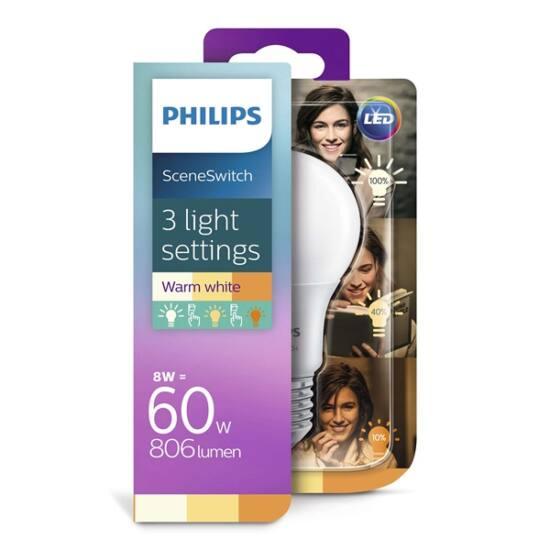 PHILIPS  LED izzó 8-60W A60 E27 827 FR ND Scenekapcsoló