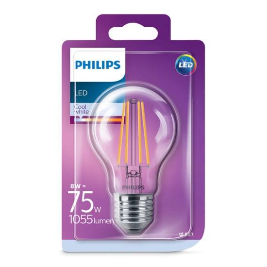 PHILIPS LED izzó classic 75W A60 E27 CW CL ND 1BC/6