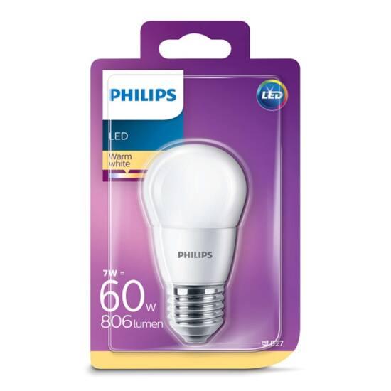 Philips  LED luster izzó 7-60W P45 E27 827 FR ND